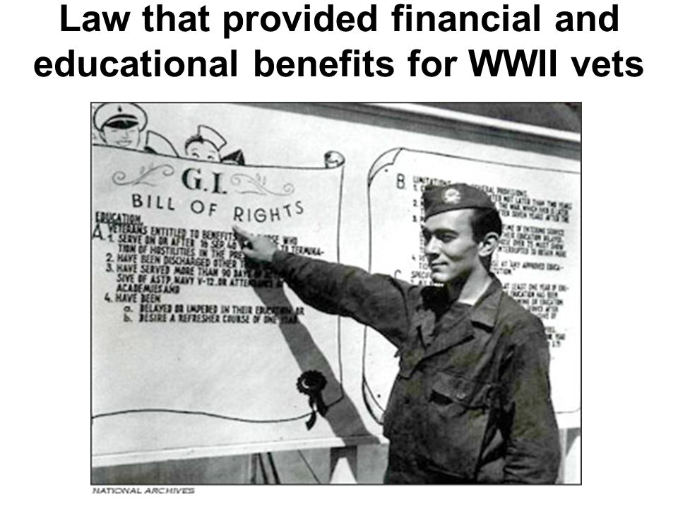Law that provided financial and educational benefits for WWII vets