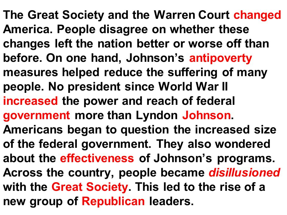 The Great Society and the Warren Court changed America