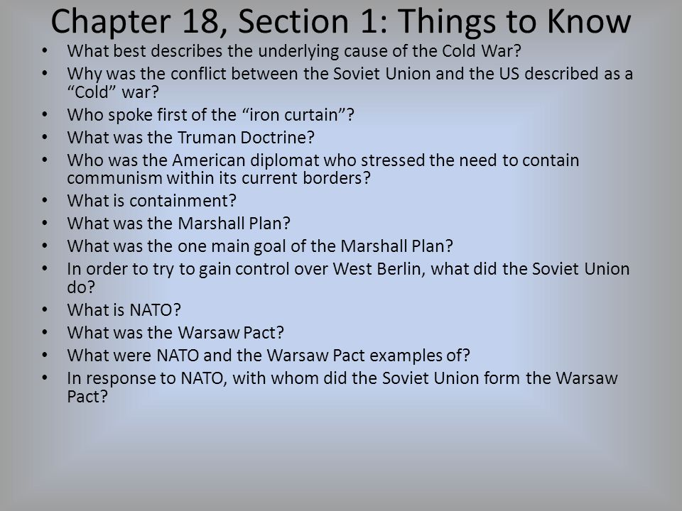 Chapter 18, Section 1: Things to Know