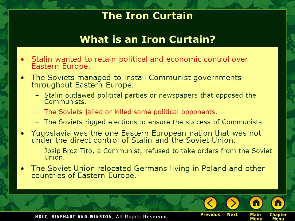 The Iron Curtain What is an Iron Curtain