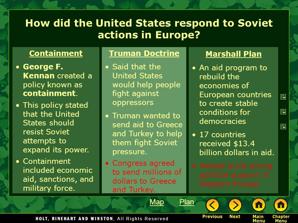 How did the United States respond to Soviet actions in Europe