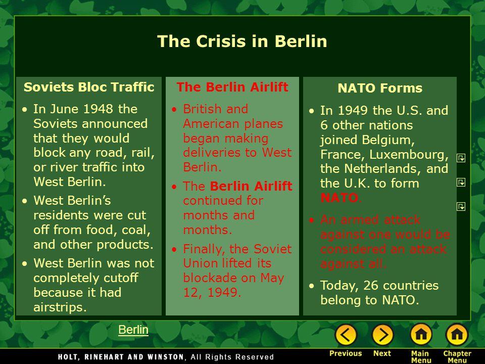 The Crisis in Berlin Soviets Bloc Traffic