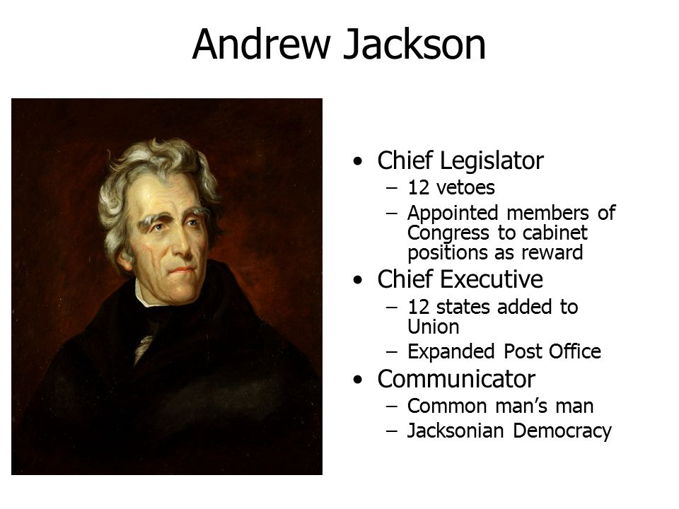 Andrew Jackson Chief Legislator Chief Executive Communicator 12 vetoes