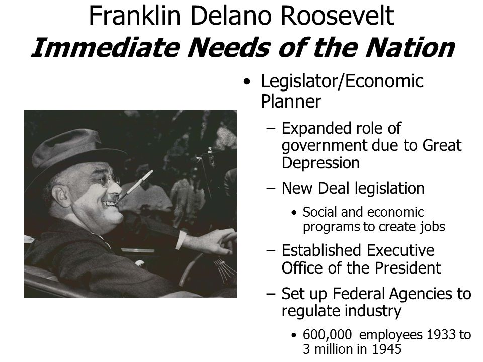 Franklin Delano Roosevelt Immediate Needs of the Nation