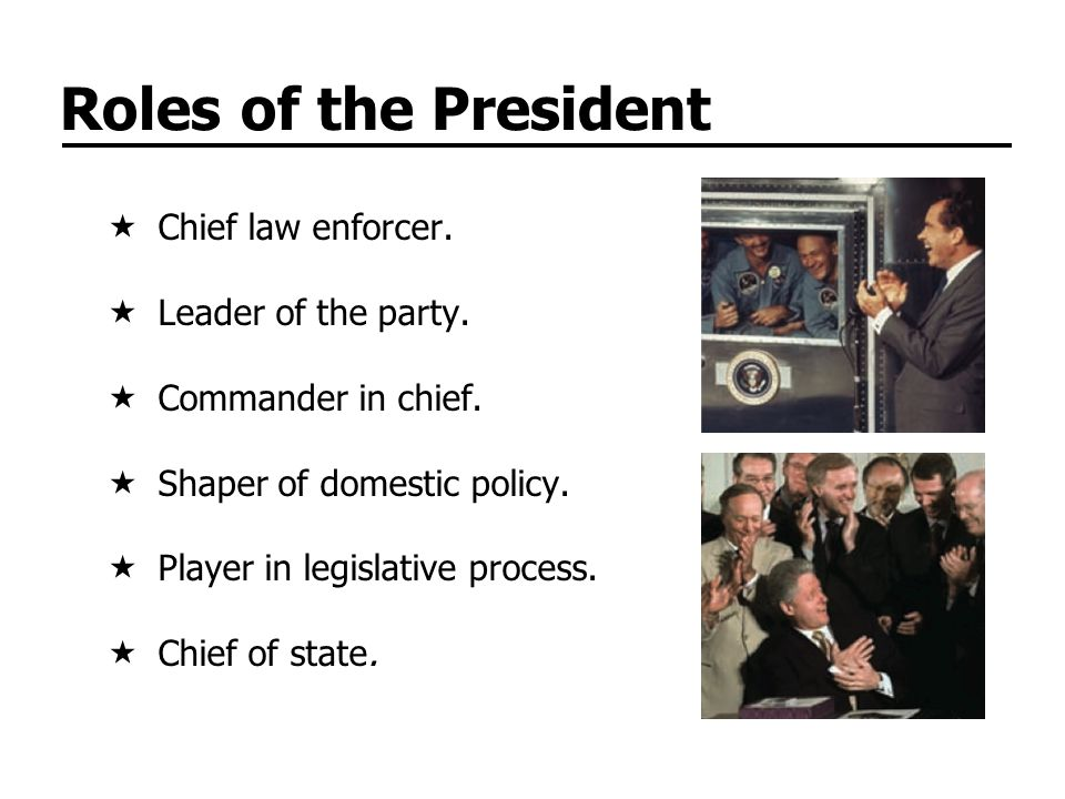 Roles of the President Chief law enforcer. Leader of the party.
