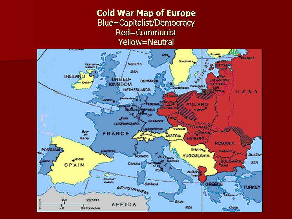 Cold War Map of Europe Blue=Capitalist/Democracy Red=Communist Yellow=Neutral