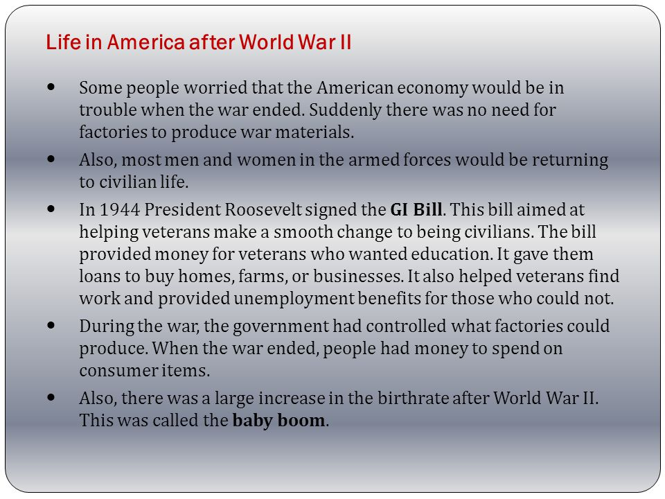 Life in America after World War II