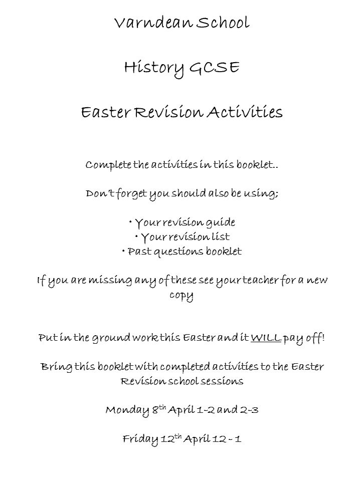 Varndean School History GCSE Easter Revision Activities