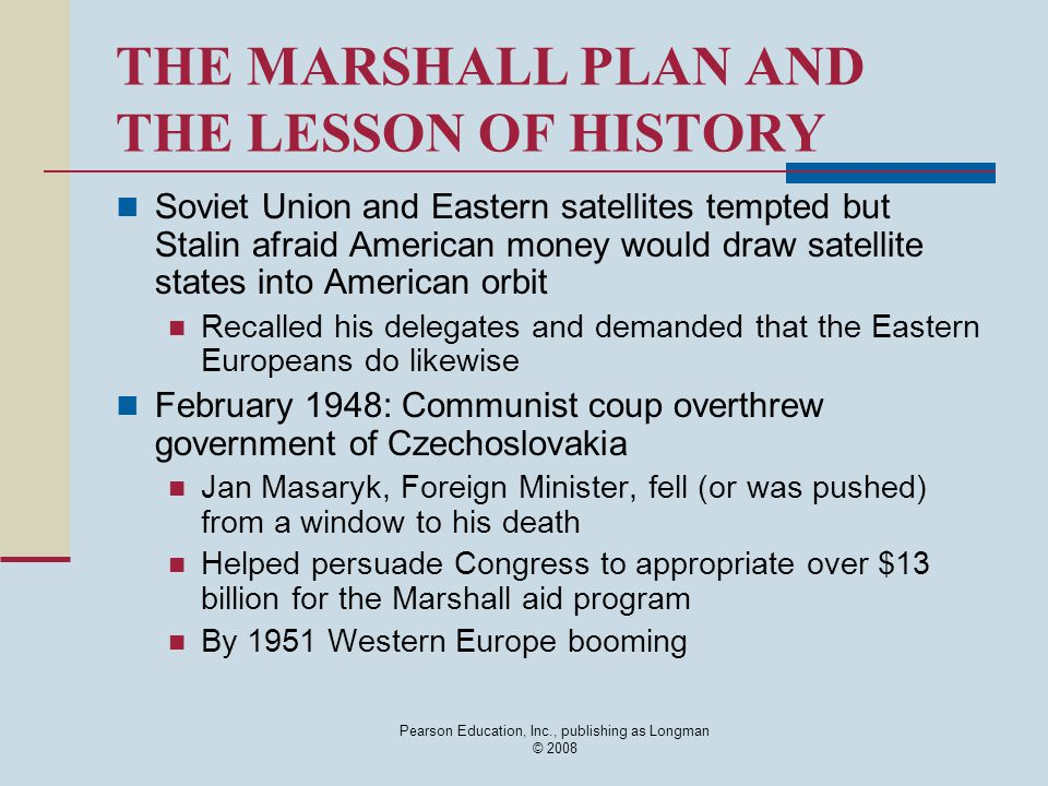 THE MARSHALL PLAN AND THE LESSON OF HISTORY