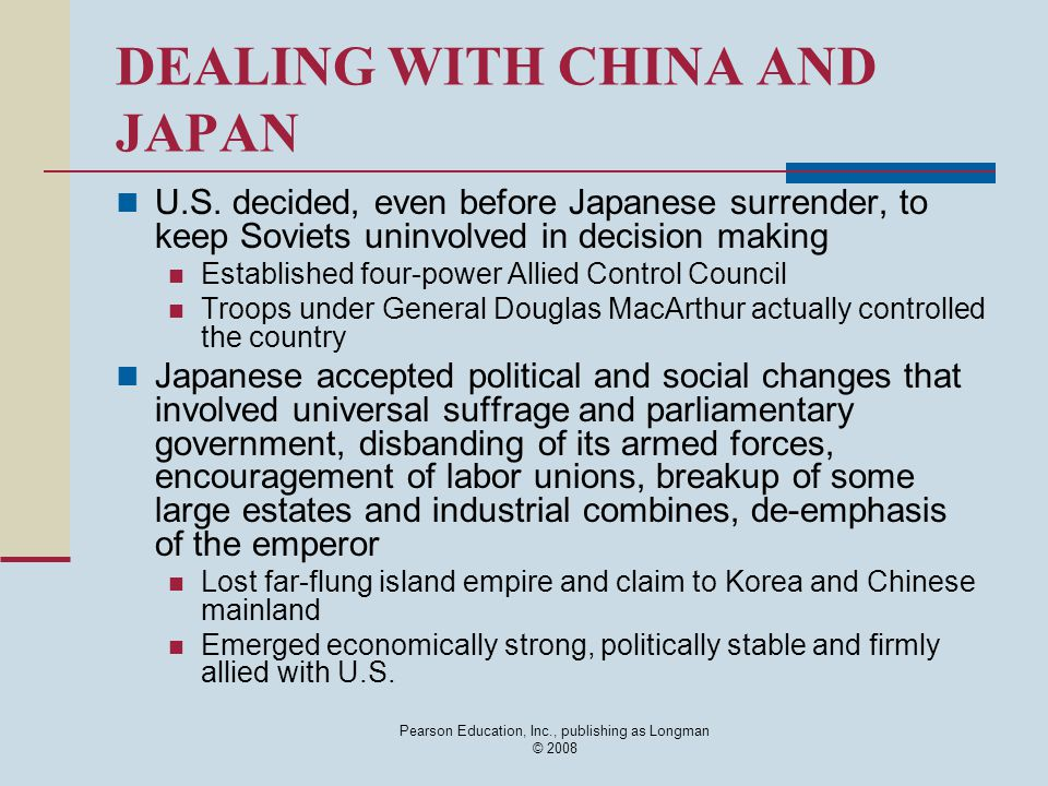 DEALING WITH CHINA AND JAPAN