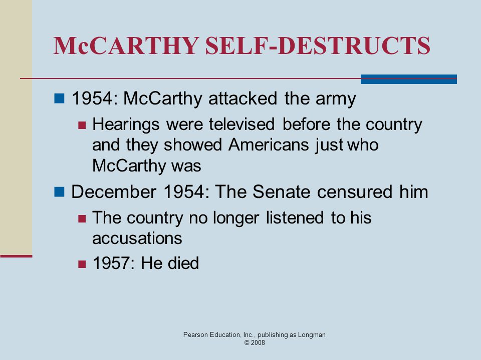McCARTHY SELF-DESTRUCTS