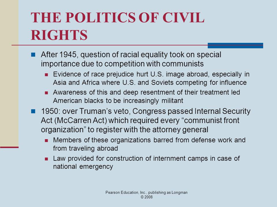 THE POLITICS OF CIVIL RIGHTS