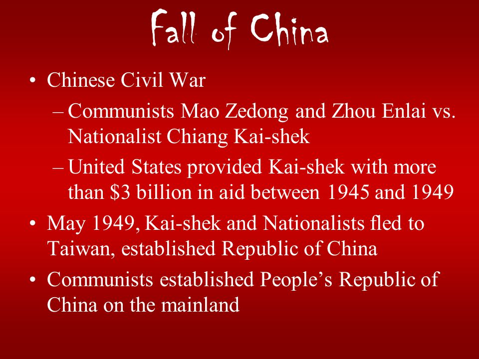 Fall of China Chinese Civil War