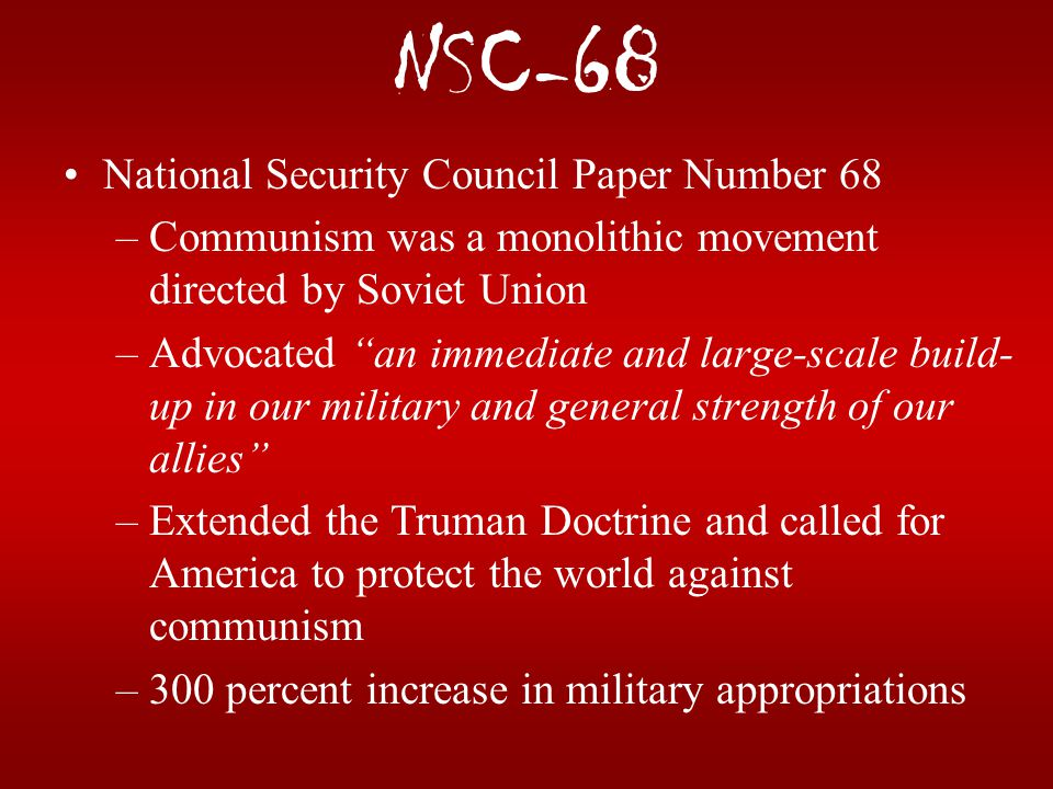 NSC-68 National Security Council Paper Number 68