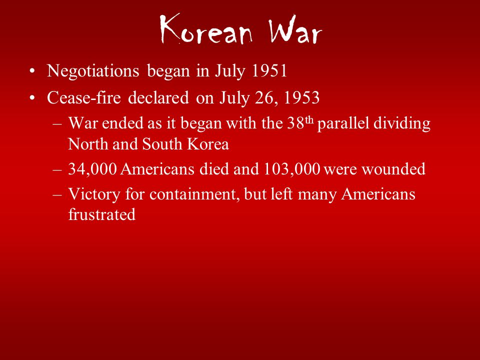 Korean War Negotiations began in July 1951
