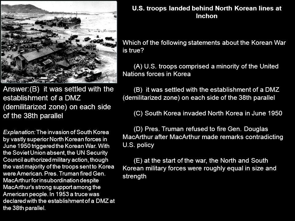 U.S. troops landed behind North Korean lines at Inchon