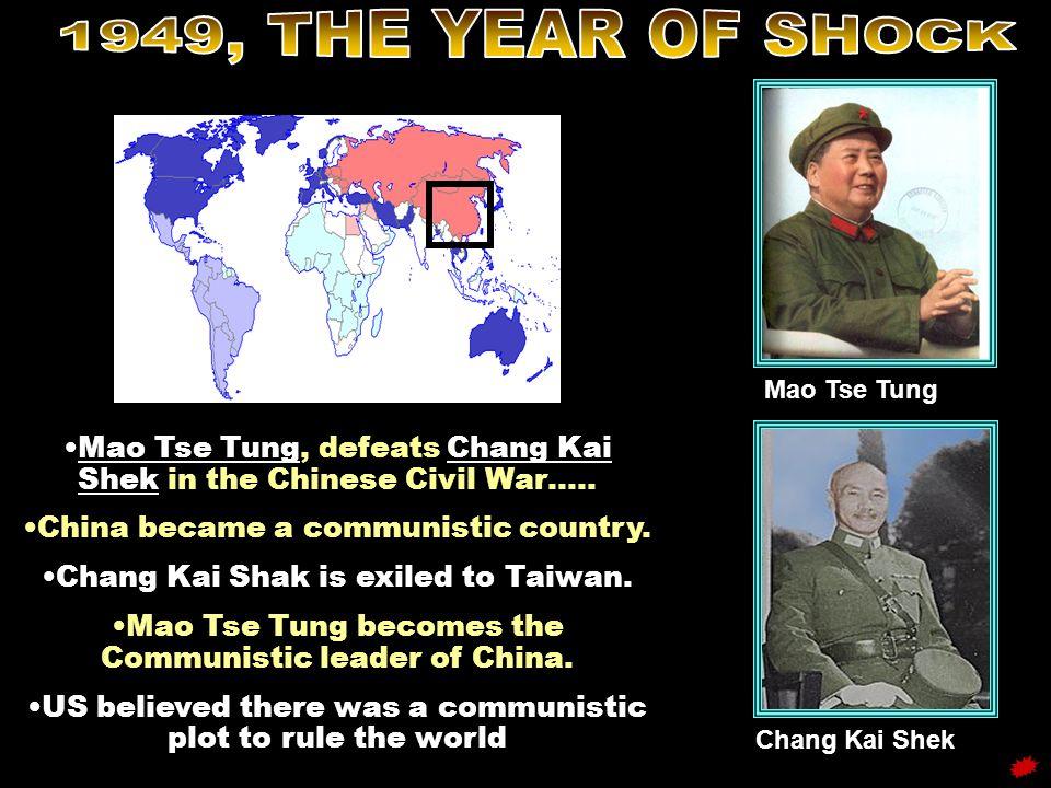 1949, THE YEAR OF SHOCK Mao Tse Tung. Mao Tse Tung, defeats Chang Kai Shek in the Chinese Civil War…..