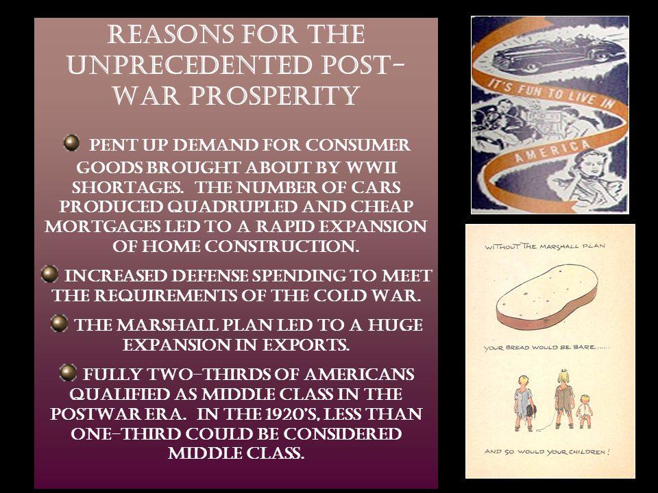 REASONS FOR THE UNPRECEDENTED POST-WAR PROSPERITY