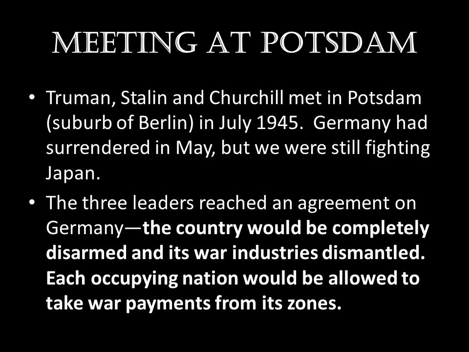 MEETING AT POTSDAM
