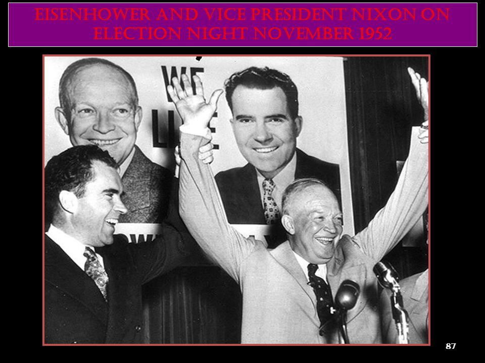 EISENHOWER AND VICE PRESIDENT NIXON ON ELECTION NIGHT NOVEMBER 1952