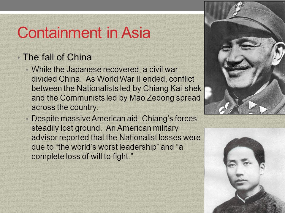 Containment in Asia The fall of China
