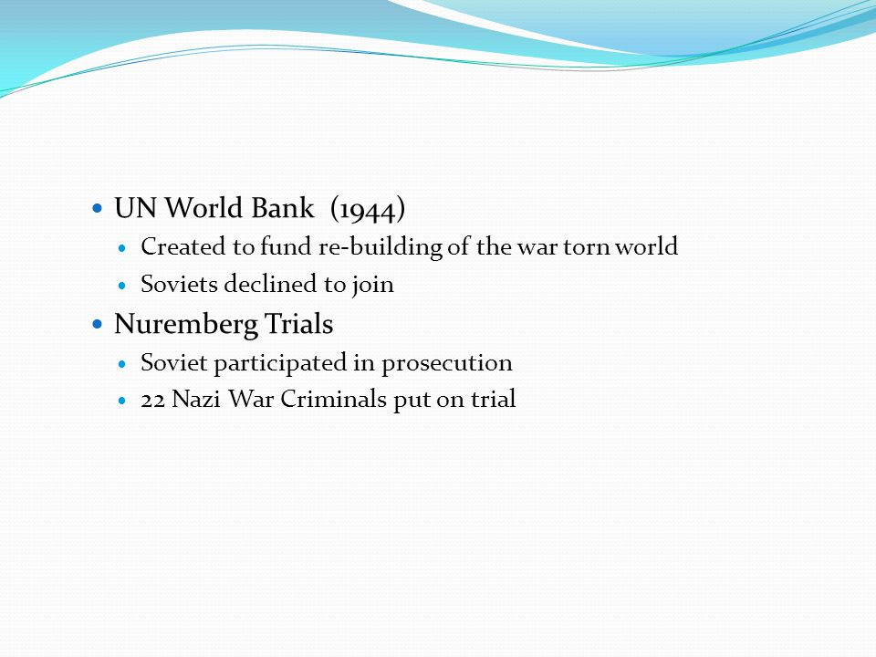 UN World Bank (1944) Nuremberg Trials