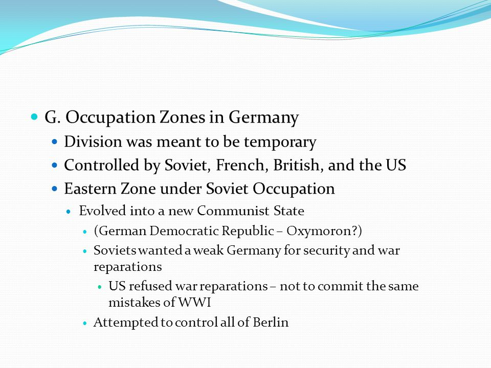 G. Occupation Zones in Germany