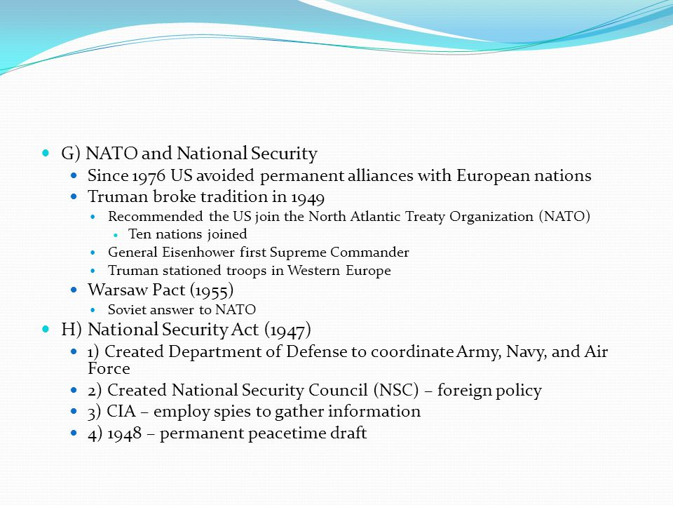 G) NATO and National Security
