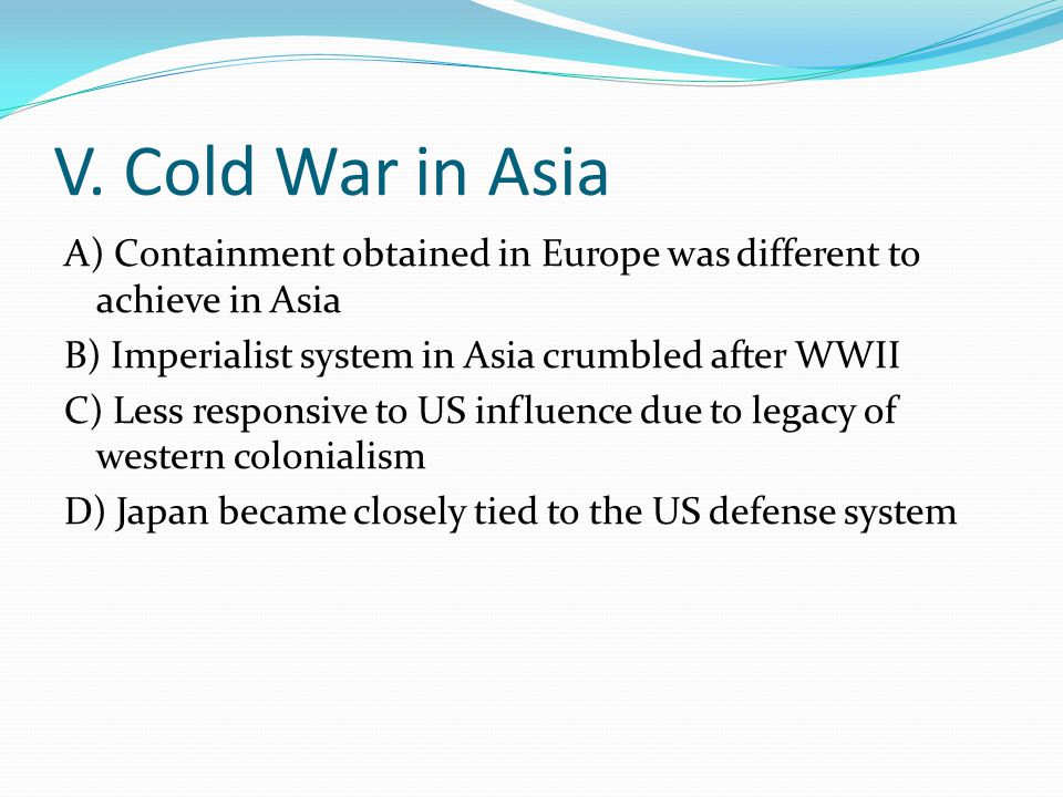 V. Cold War in Asia