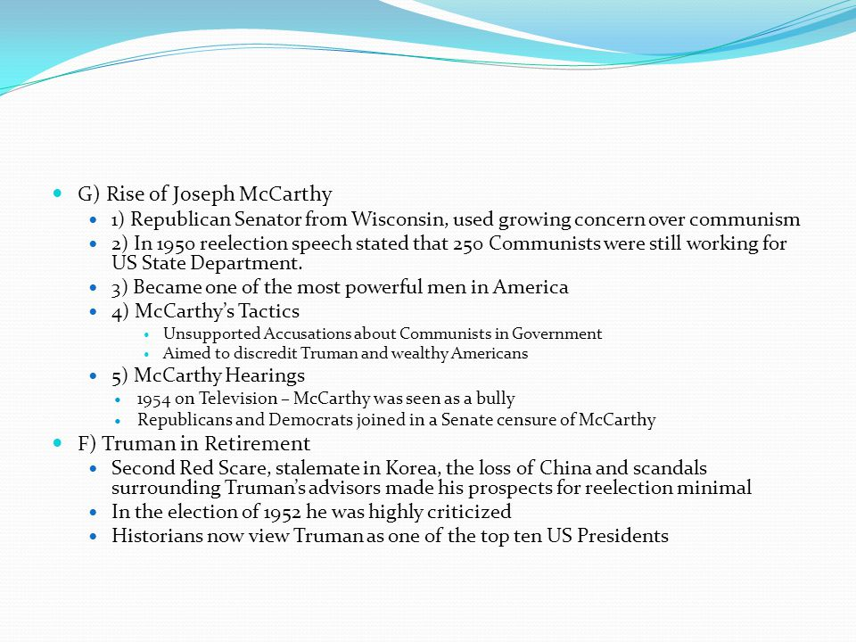 G) Rise of Joseph McCarthy