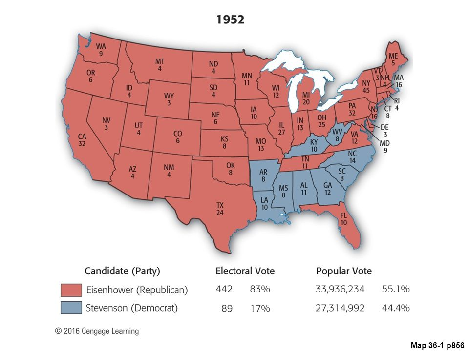 Map 36.1 Presidential Election of 1952 (with electoral