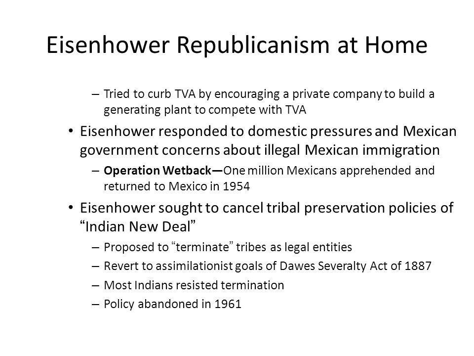 Eisenhower Republicanism at Home