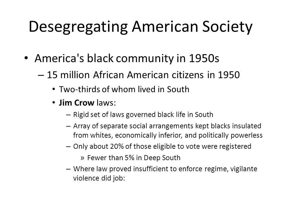 Desegregating American Society