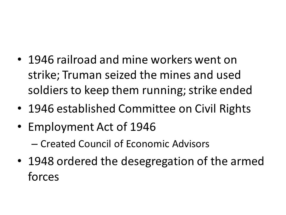 1946 established Committee on Civil Rights Employment Act of 1946