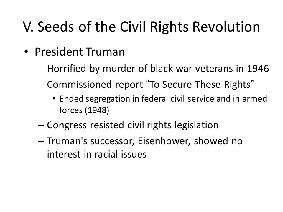 V. Seeds of the Civil Rights Revolution