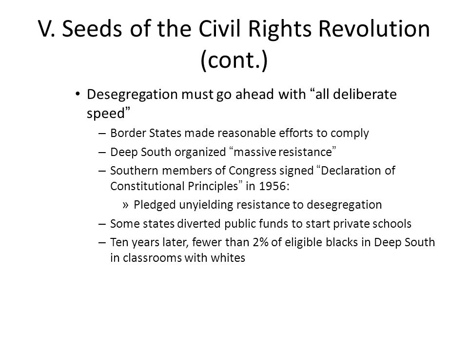 V. Seeds of the Civil Rights Revolution (cont.)