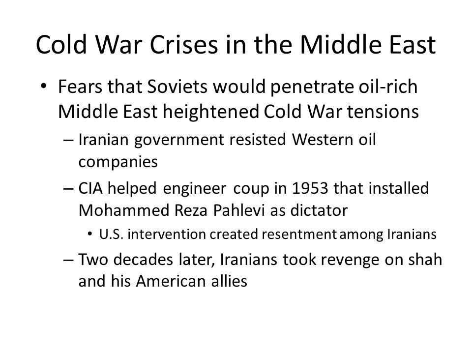 Cold War Crises in the Middle East