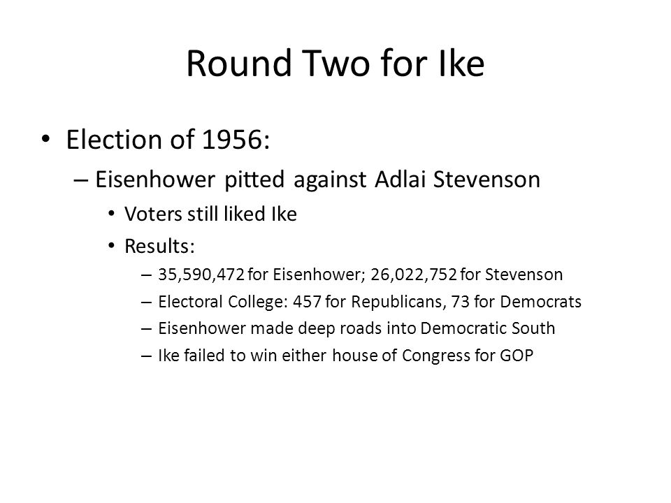 Round Two for Ike Election of 1956: