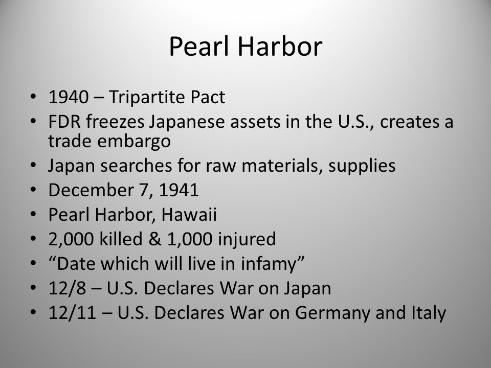 Pearl Harbor 1940 – Tripartite Pact