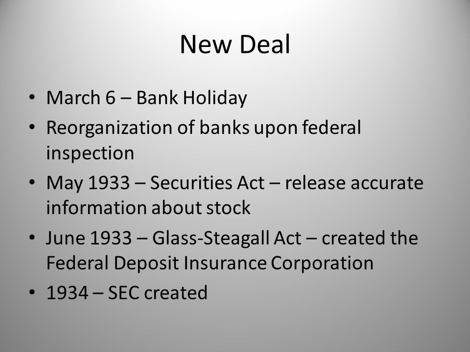 New Deal March 6 – Bank Holiday