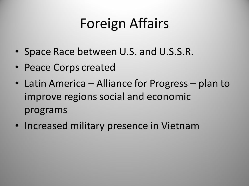 Foreign Affairs Space Race between U.S. and U.S.S.R.