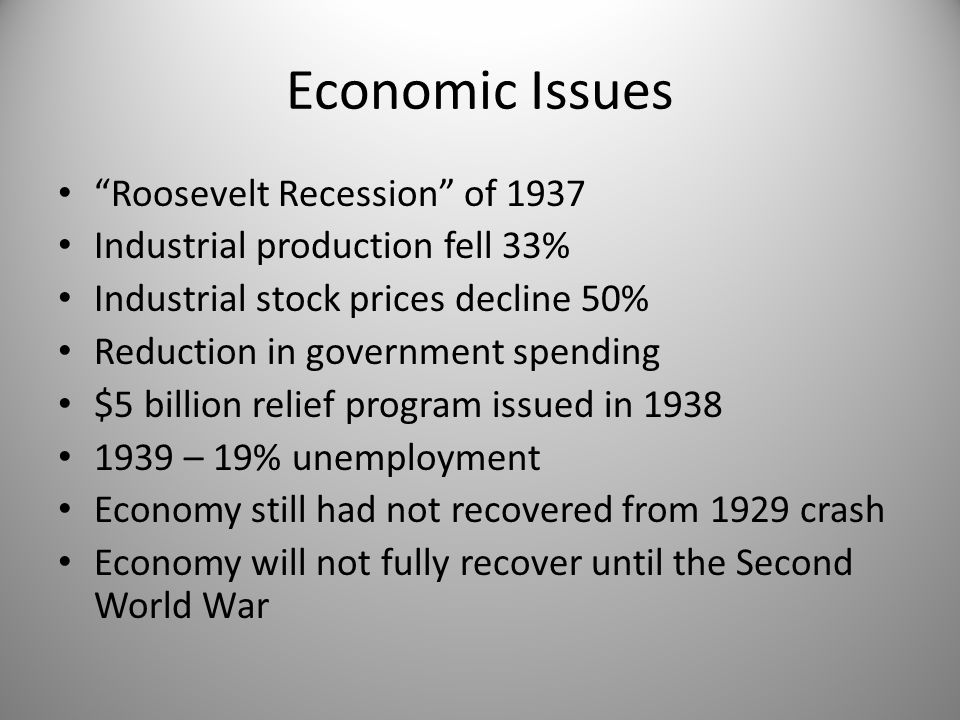 Economic Issues Roosevelt Recession of 1937