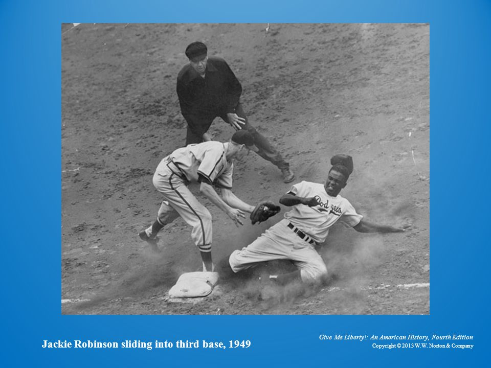 Photo of Jackie Robinson at Third Base