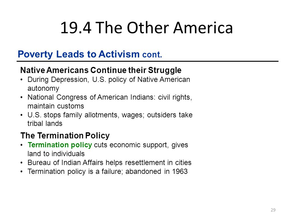 19.4 The Other America Poverty Leads to Activism cont.