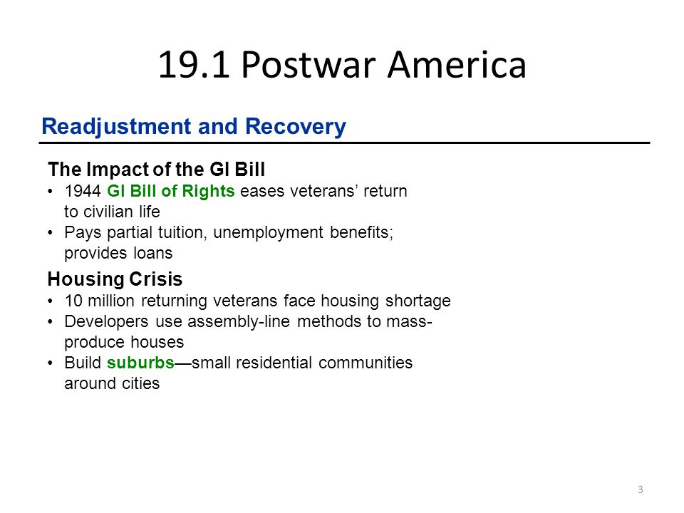 19.1 Postwar America Readjustment and Recovery