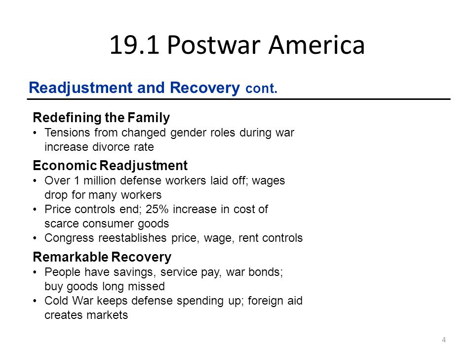19.1 Postwar America Readjustment and Recovery cont.