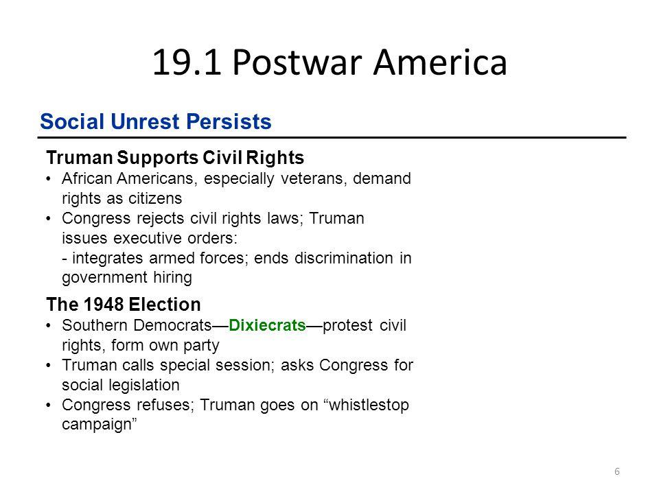 19.1 Postwar America Social Unrest Persists