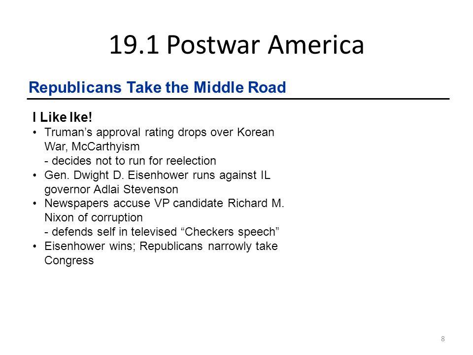19.1 Postwar America Republicans Take the Middle Road I Like Ike!