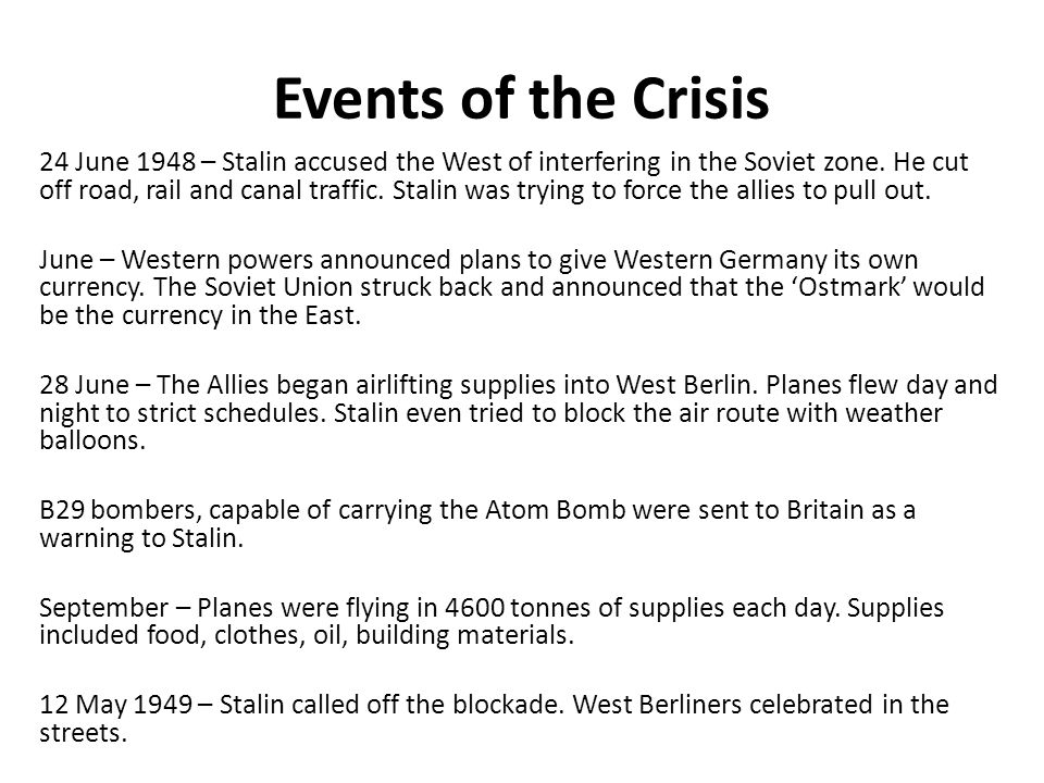 Events of the Crisis