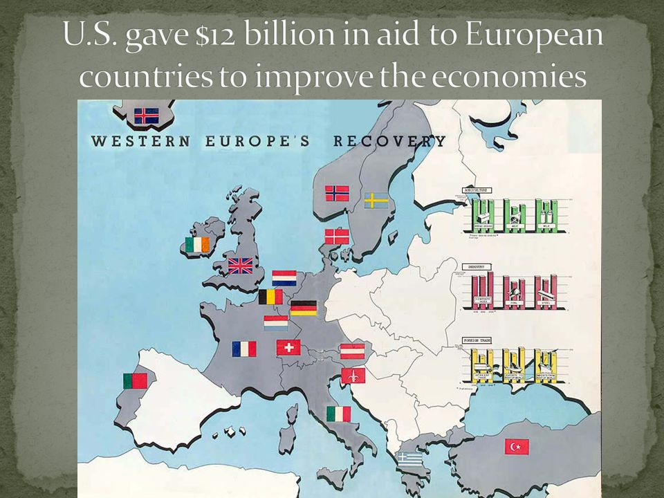 U.S. gave $12 billion in aid to European countries to improve the economies